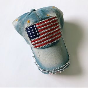 Accessories - Denim American Flag Baseball Cap